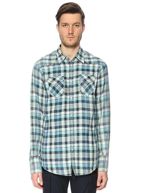 Dsquared2 Kareli Uzun Kollu Gömlek Mavi